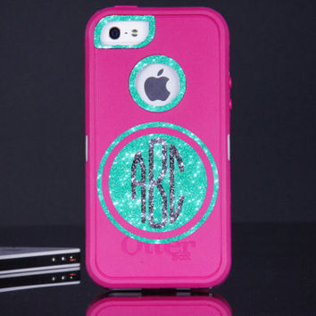 iPhone 5 Monogram Otterbox Defender Case - iPhone 5 Otterbox Defender Personalized Pink/Wintermint/Smoke Case  - Cute Sparkly Bling
