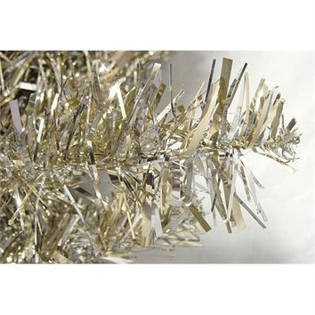 Tinsel Tree - Features A Mixture Of Champagne And Silver Tinsel Tips