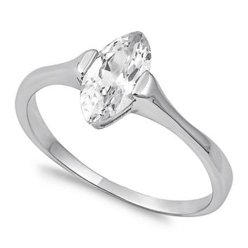 .925 Sterling Silver Solitaire Engagement Ladies Ring Size 5-10 Marquise Cut .75 carat