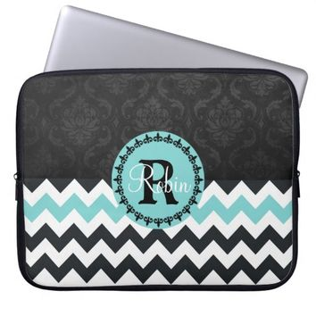 Aqua Black Chevron Damask Monogram Laptop Sleeve