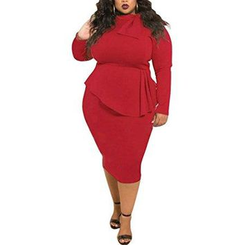 Plus Size Double-Layered Tie Neck Women's Bodycon Dress Midi Dress For Party, Cocktail,Club Casual