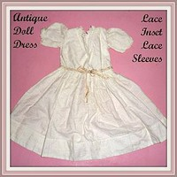 Antique Doll Dress - White - Lace Panel Inset and Sleeves (item #1291402)