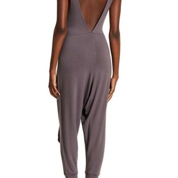 Free People | Open Back Knit Waist Tie Slouch Fit Jumpsuit