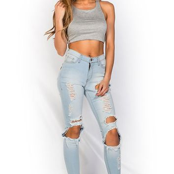 Karah Light Blue Stretch Denim Frayed Ripped Skinny Jeans