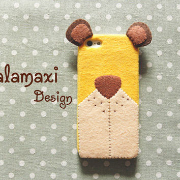 Handmade Little Bear Phone Case, Felt Bear iPhone Case, Handcrafted Felt Bear Case for iPhone 4/4S/5/5S/5C, Custom Phone Case, Gift Ideas