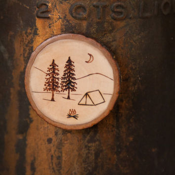 Wood Burned Camping Scene with tent, pine trees and moon Maple Wood Slice Magnet. Campsite souvenir or gift for outdoors lover