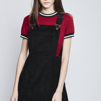 Ella Black Corduroy Pinafore Dress