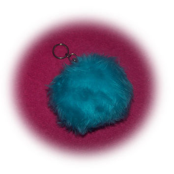 fluffy keyring pompom ball turquoise teal neptune Plain furry fur fluffy fuzzy keychain pom pom car cute