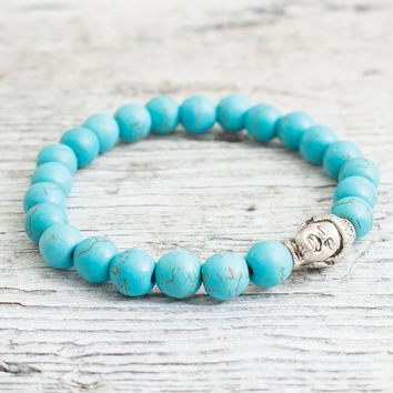 Turquoise beaded Buddha head stretchy bracelet, made to order yoga bracelet, mens bracelet, womens bracelet