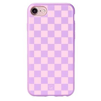 Checkered Lavender Nude iPhone Case