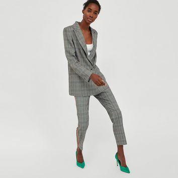 CHECKED TROUSERS WITH SIDE STRIPES DETAILS
