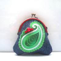 Paisley denim coin purse, Printed cotton change purse, Change bag