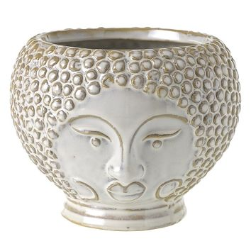 "Ophelia Ceramic Face Vase - 4.75"" Tall x 6"" Wide"