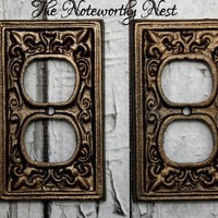Cast Iron outlet covers  // light switch covers // switchplate // custom switchplates // cast iron outlet // double switchplate