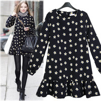 Black Daisy Pattern Peplum Dress