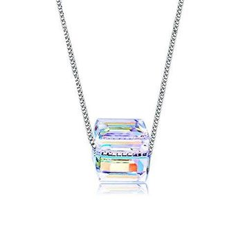 Austria Cube Crystal Necklace, Cat Eye  S925 Sterling Silver Sugar Color Square Necklace