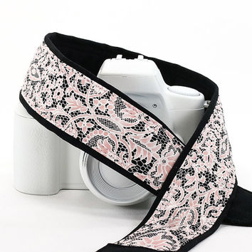 Camera Strap, dSLR, Pink Lace, Pocket, Replacement strap for Canon Nikon Pentax etc., Quick Release, SLR, 35