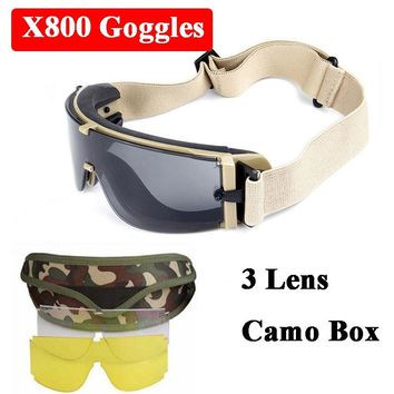 Military Airsoft Sport X800 Tactical Goggles USMC UV400 Sunglasses Army Paintball Goggles Hunting Shooting Glasses 3 Lens