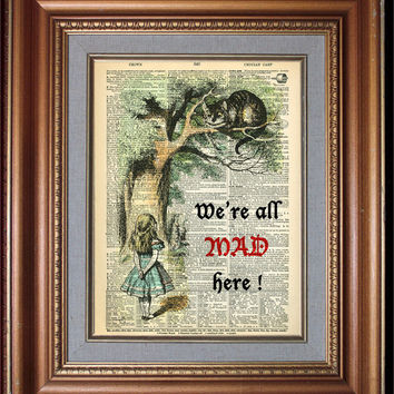 ALICE IN WONDERLAND Wall Decor Book Art Dictionary Art Print Decorative Arts Wall Hangings Old Book Pages Wall Art Alice Print