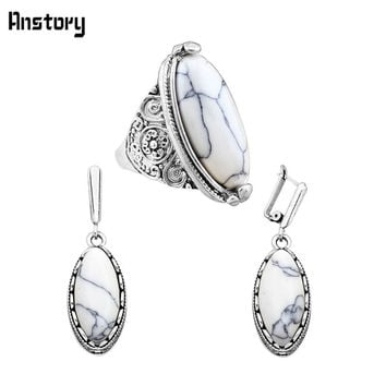 Retro Craft Antique Silver Plated Clip On Earrings Ring Oval  Turquoise Jewelry Sets TS263
