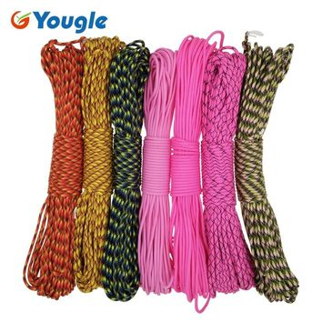 YOUGLE Paracord 550 Parachute Cord Lanyard Rope Mil Spec Type III 7 Strands 100FT 31m Camping survival equipment rope 53-59