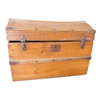Pre-owned Antique Wood Traveling Trunk