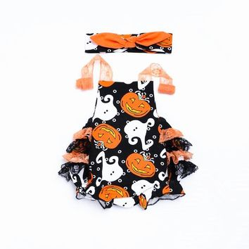 Halloween Baby Costume Baby Girls Ruffled Lace Rompers Newborn Jumpsuits+Bow Headband 2pcs suit Pumpkin Printed Baby Rompers