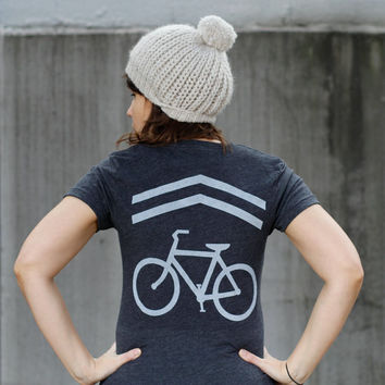 Share the Road - tshirt for women | women's graphic tee - bike sharrows screenprint by Blackbird Tees
