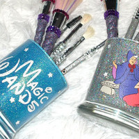 2PC Cinderella Magic Wands Fairy Godmother Makeup Brush Holder Set - YOU CUSTOMIZE!