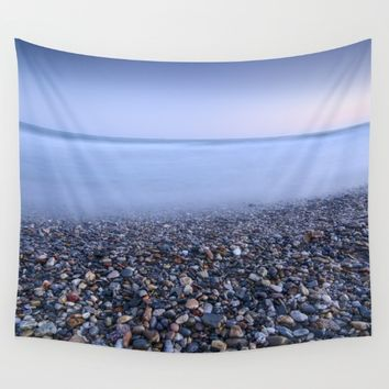 """Multicolored beach"". At sunset Wall Tapestry by Guido Montañés"