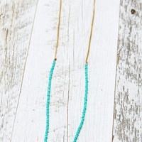 Me To We Teal Brass Helix Necklace - Womens Jewelry - Blue - One