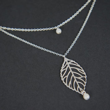 Silver leaf necklace, wedding, bridal gift, bridesmaid, gift, modern, fall, leaves