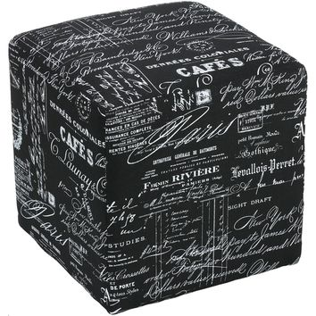 Cortesi Home Braque Black Linen Cube Ottoman | Overstock.com Shopping - The Best Deals on Ottomans