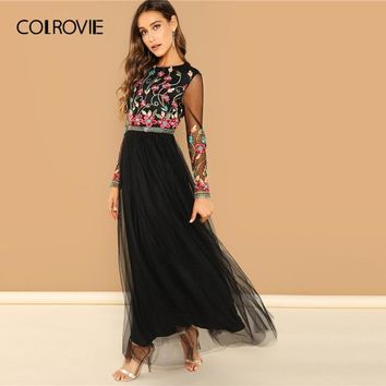 COLROVIE Black Backless Embroidered Mesh Maxi Sexy Dress Women 2019 Spring Long Sleeve High Waist A Line Vestidos Female Dresses