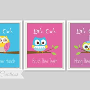 Owl Bathroom Art Prints - Set of 3 Prints - Little Owls Wash Their hands Print - Kids Bathroom Decor - Bathroom Decor - Baby Decor