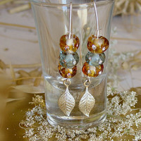 Amber Green Earrings, Handmade Lampwork Glass Beads Earrings, Sterling Silver Hooks