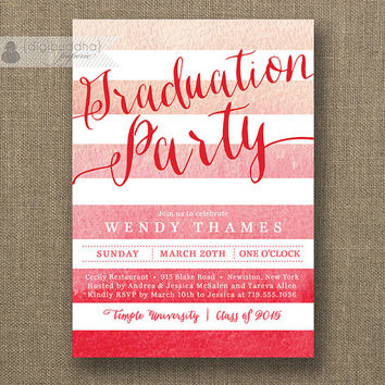 Pink Ombre Watercolor Graduation Party Invitation Red Pink Gradient Horizontal Stripes Modern Bachelorette DIY Digital or Printed- Wendy
