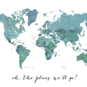 Oh the places we'll go - shades of teal world map with country names - not recommended for mini size Art Print by blursbyaiShop | Society6