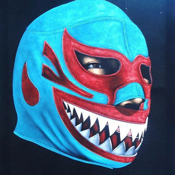 Mil Mascaras wrestling black velvet oil painting handpainted signed art