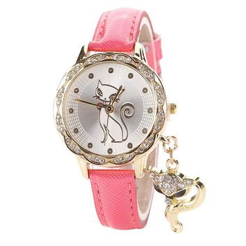 Lady Luxury Diamond Cute Cat Watch