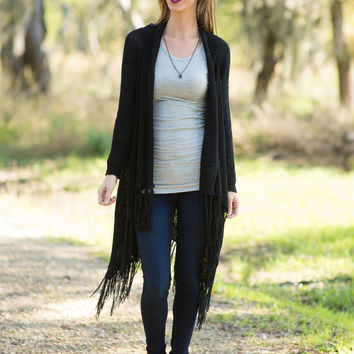Not Alone Fringe Cardigan - Black