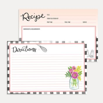 Farmhouse Gingham Recipe Card Pack