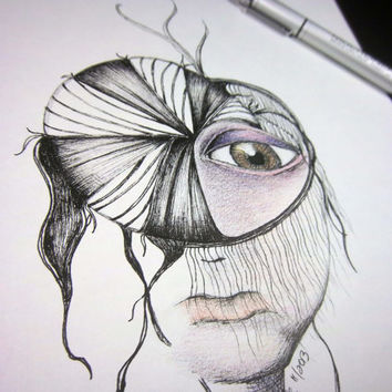 "Pen drawing, original art, free shipping, pen and ink illustration colored pencil drawing surreal art portrait art 9x12 ""The Sight"""