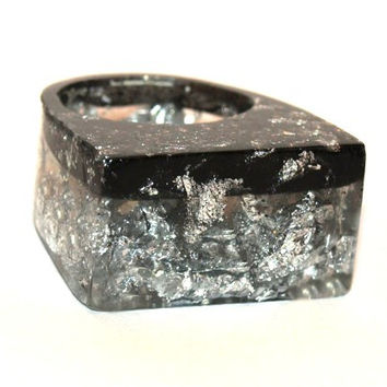 Resin Ring Silver Leaf & Black SLAM GLAM ROCK Ring, 2015 Ring Trends, 2015 Fashion Trending, Unique Modern Jewelry, ResinHeavenUSA