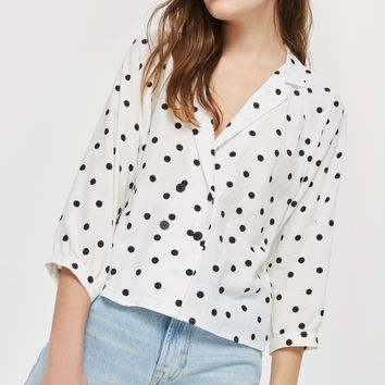 Spot Print Button Down Top - Shirts & Blouses - Clothing