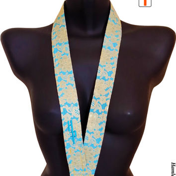 Turquoise Gold Lace Lanyard | Floral Lace Lanyard | Fabric Lanyard | Gold Lace | Personalized | Swivel-hook Lanyard by Hamlet Pericles