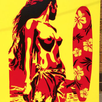 pacific islander painting on large canvas,tiki.red,yellow,black,surfboard,lilies,flower,spraypaints,female,woman,sun,nude,urbanwers,stencil