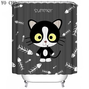 YO CHO 3D Cartoon Cat Shower Curtain Polyester Waterproof  With 12 Hooks