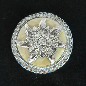 Western Germany Scarf Clip, Vintage Silver Tone Flower, MOP Face