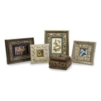 5-Piece Seashell Theme Picture Frames, Clock and Lidded Box Desk Set